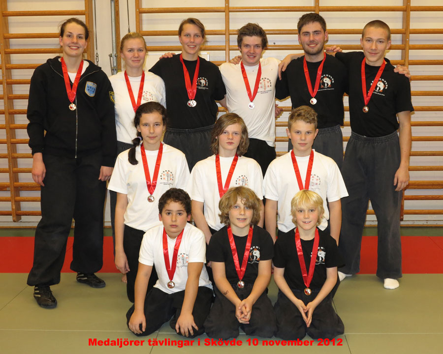 Happy medalists O Shin Chuen Kung Fu competition in Skövde 10 November 2012